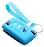TBU car TBU car Autoschlüssel Hülle kompatibel mit Peugeot 3 Tasten - Schutzhülle aus Silikon - Auto Schlüsselhülle Cover in Hellblau