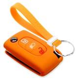 TBU car TBU car Sleutel cover compatibel met Citroën - Silicone sleutelhoesje - beschermhoesje autosleutel - Oranje