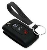 TBU car TBU car Autoschlüssel Hülle kompatibel mit Peugeot 3 Tasten (Licht Taste) - Schutzhülle aus Silikon - Auto Schlüsselhülle Cover in Schwarz