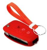 TBU car TBU car Autoschlüssel Hülle kompatibel mit Ford 3 Tasten - Schutzhülle aus Silikon - Auto Schlüsselhülle Cover in Rot