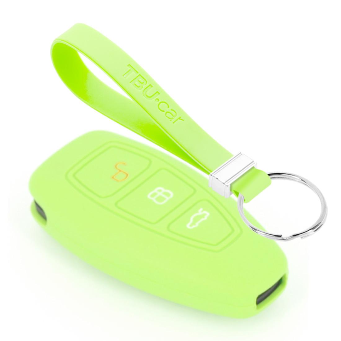 TBU car TBU car Autoschlüssel Hülle kompatibel mit Ford 3 Tasten (Keyless Entry) - Schutzhülle aus Silikon - Auto Schlüsselhülle Cover in Im Dunkeln leuchten