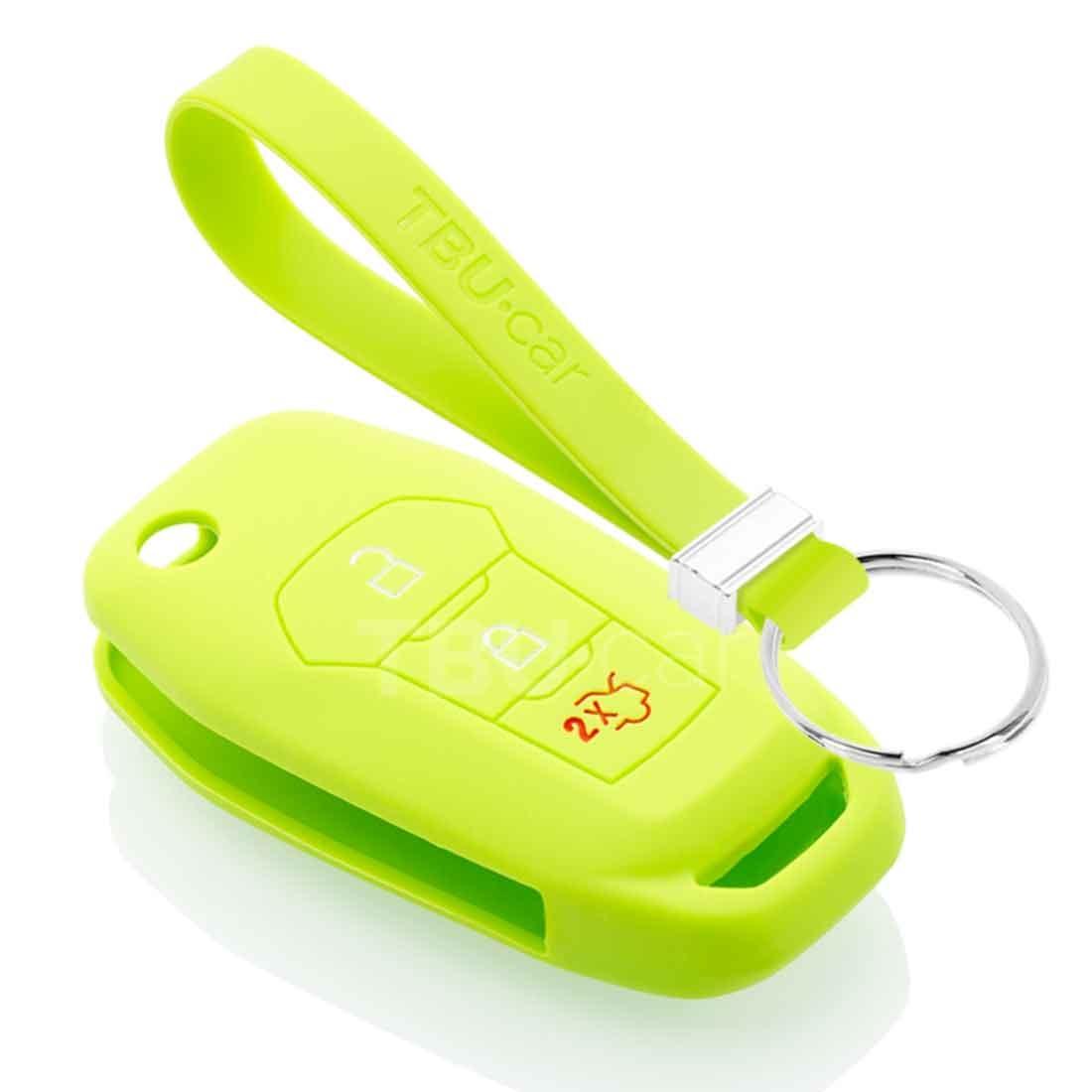 TBU car TBU car Autoschlüssel Hülle kompatibel mit Ford 3 Tasten - Schutzhülle aus Silikon - Auto Schlüsselhülle Cover in Lindgrün