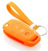 TBU car TBU car Autoschlüssel Hülle kompatibel mit Ford 3 Tasten - Schutzhülle aus Silikon - Auto Schlüsselhülle Cover in Orange