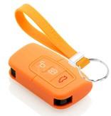 TBU car TBU car Autoschlüssel Hülle kompatibel mit Ford 3 Tasten (Keyless Entry) - Schutzhülle aus Silikon - Auto Schlüsselhülle Cover in Orange