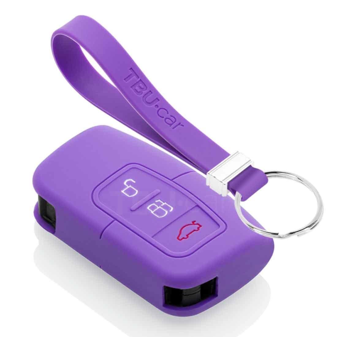 TBU car TBU car Autoschlüssel Hülle kompatibel mit Ford 3 Tasten (Keyless Entry) - Schutzhülle aus Silikon - Auto Schlüsselhülle Cover in Violett