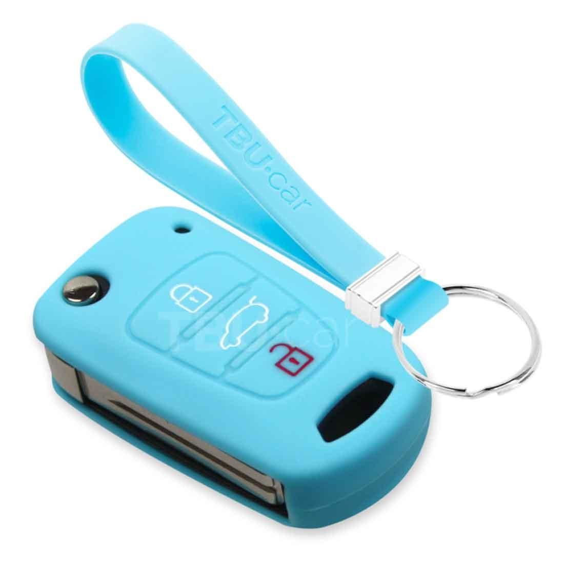 TBU car TBU car Sleutel cover compatibel met Hyundai - Silicone sleutelhoesje - beschermhoesje autosleutel - Lichtblauw