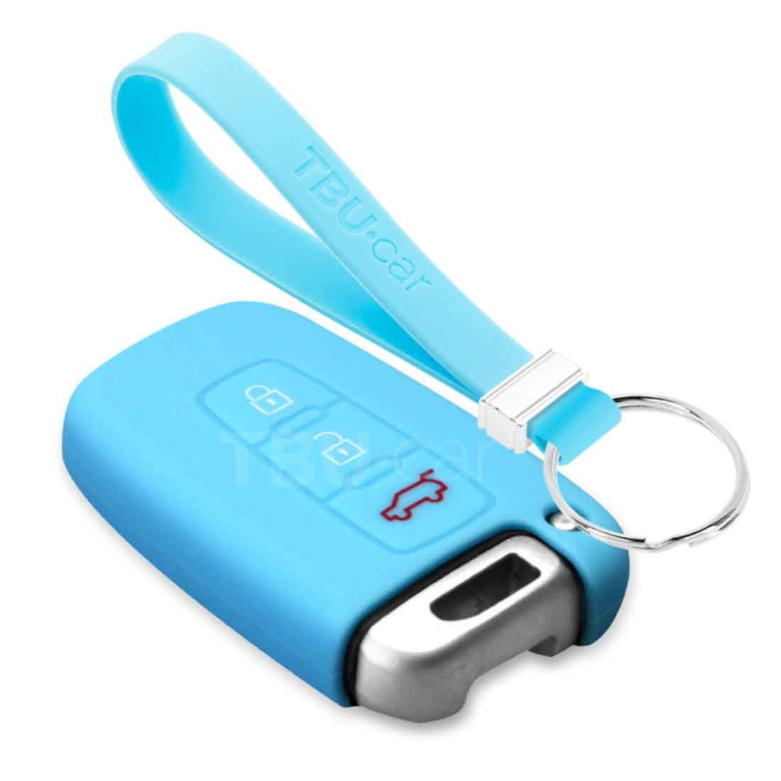 TBU car TBU car Autoschlüssel Hülle kompatibel mit Hyundai 3 Tasten (Keyless Entry) - Schutzhülle aus Silikon - Auto Schlüsselhülle Cover in Hellblau