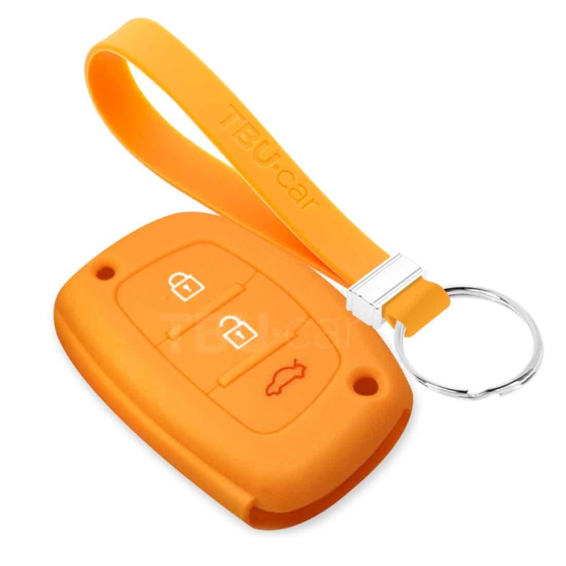 TBU car TBU car Autoschlüssel Hülle kompatibel mit Hyundai 3 Tasten (Keyless Entry) - Schutzhülle aus Silikon - Auto Schlüsselhülle Cover in Orange