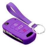 TBU car TBU car Autoschlüssel Hülle kompatibel mit Kia 3 Tasten - Schutzhülle aus Silikon - Auto Schlüsselhülle Cover in Violett