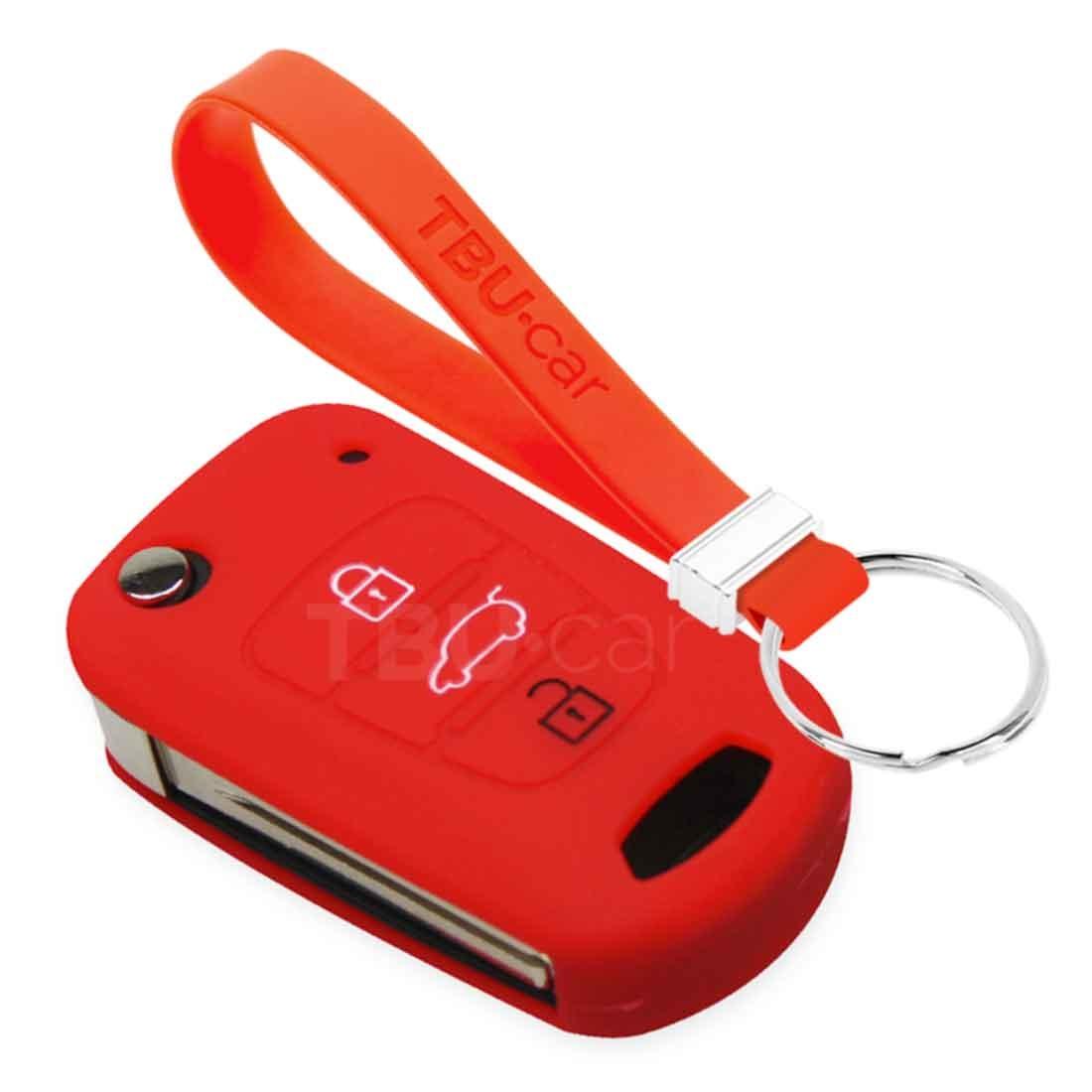 TBU car TBU car Sleutel cover compatibel met Kia - Silicone sleutelhoesje - beschermhoesje autosleutel - Rood