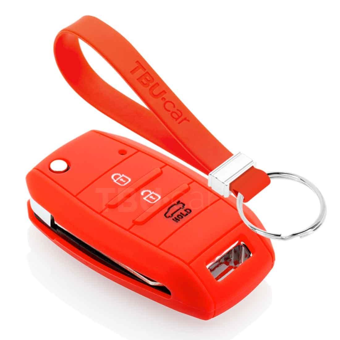 TBU car TBU car Autoschlüssel Hülle kompatibel mit Kia 3 Tasten - Schutzhülle aus Silikon - Auto Schlüsselhülle Cover in Rot