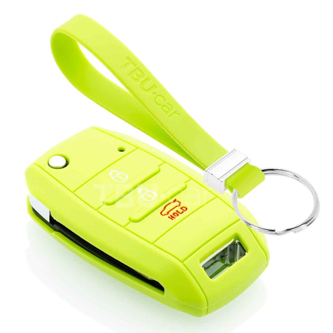 TBU car TBU car Autoschlüssel Hülle kompatibel mit Kia 3 Tasten - Schutzhülle aus Silikon - Auto Schlüsselhülle Cover in Hellgrün