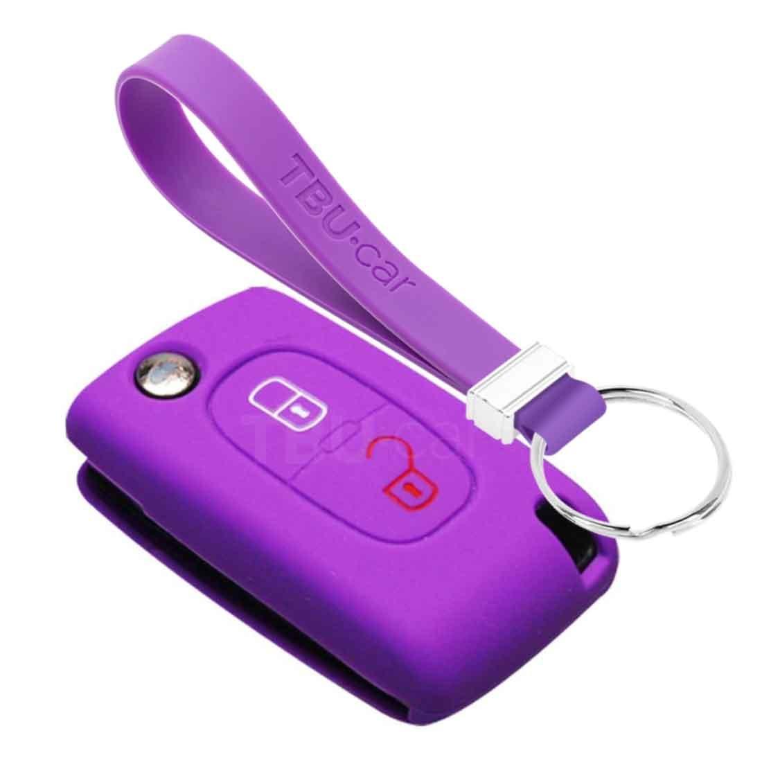TBU car TBU car Autoschlüssel Hülle kompatibel mit Citroën 2 Tasten - Schutzhülle aus Silikon - Auto Schlüsselhülle Cover in Violett