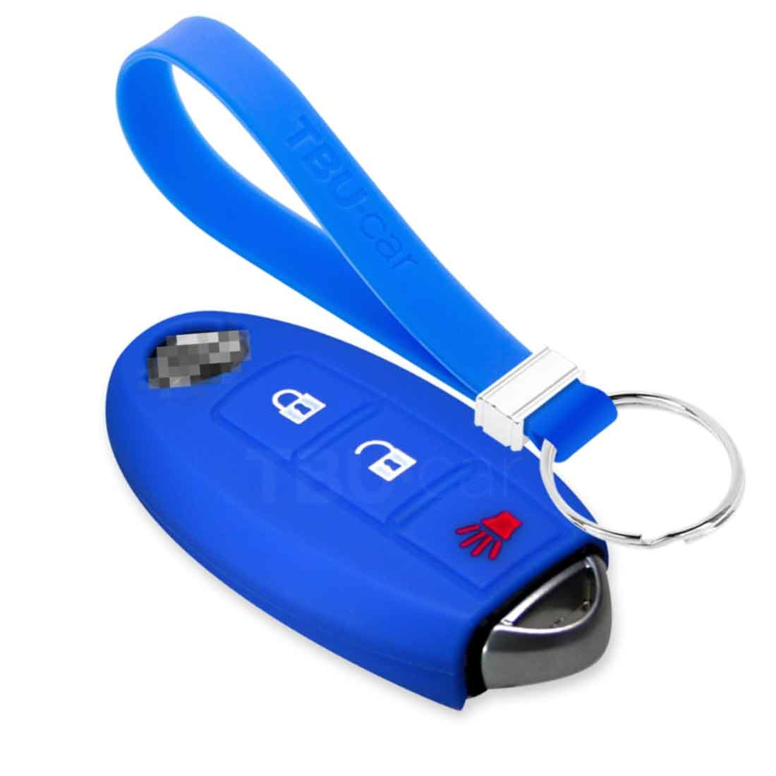 TBU car TBU car Autoschlüssel Hülle kompatibel mit Nissan 3 Tasten (Keyless Entry) - Schutzhülle aus Silikon - Auto Schlüsselhülle Cover in Blau