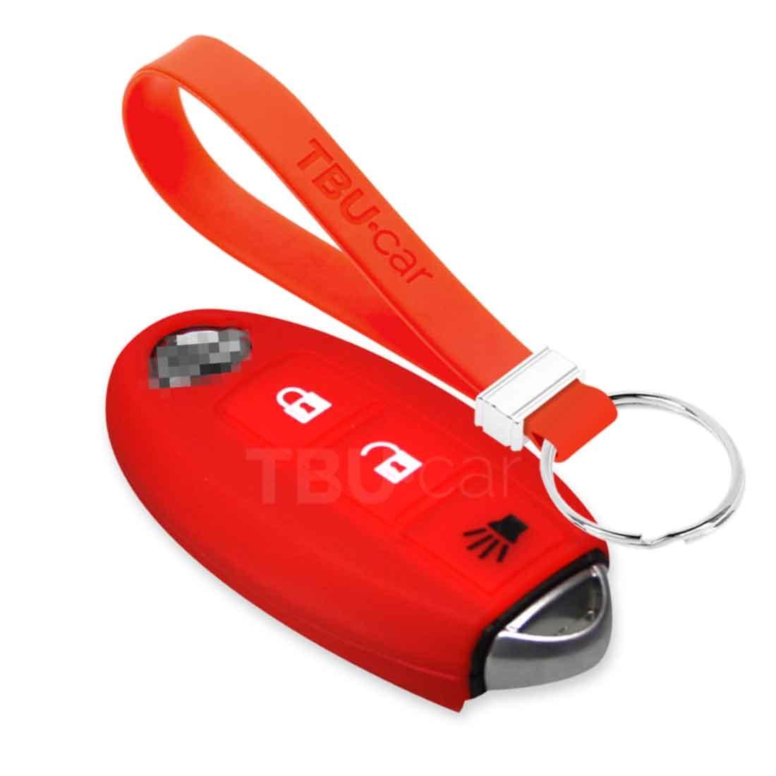 TBU car TBU car Sleutel cover compatibel met Nissan - Silicone sleutelhoesje - beschermhoesje autosleutel - Rood