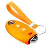 TBU car TBU car Autoschlüssel Hülle kompatibel mit Nissan 3 Tasten (Keyless Entry) - Schutzhülle aus Silikon - Auto Schlüsselhülle Cover in Orange