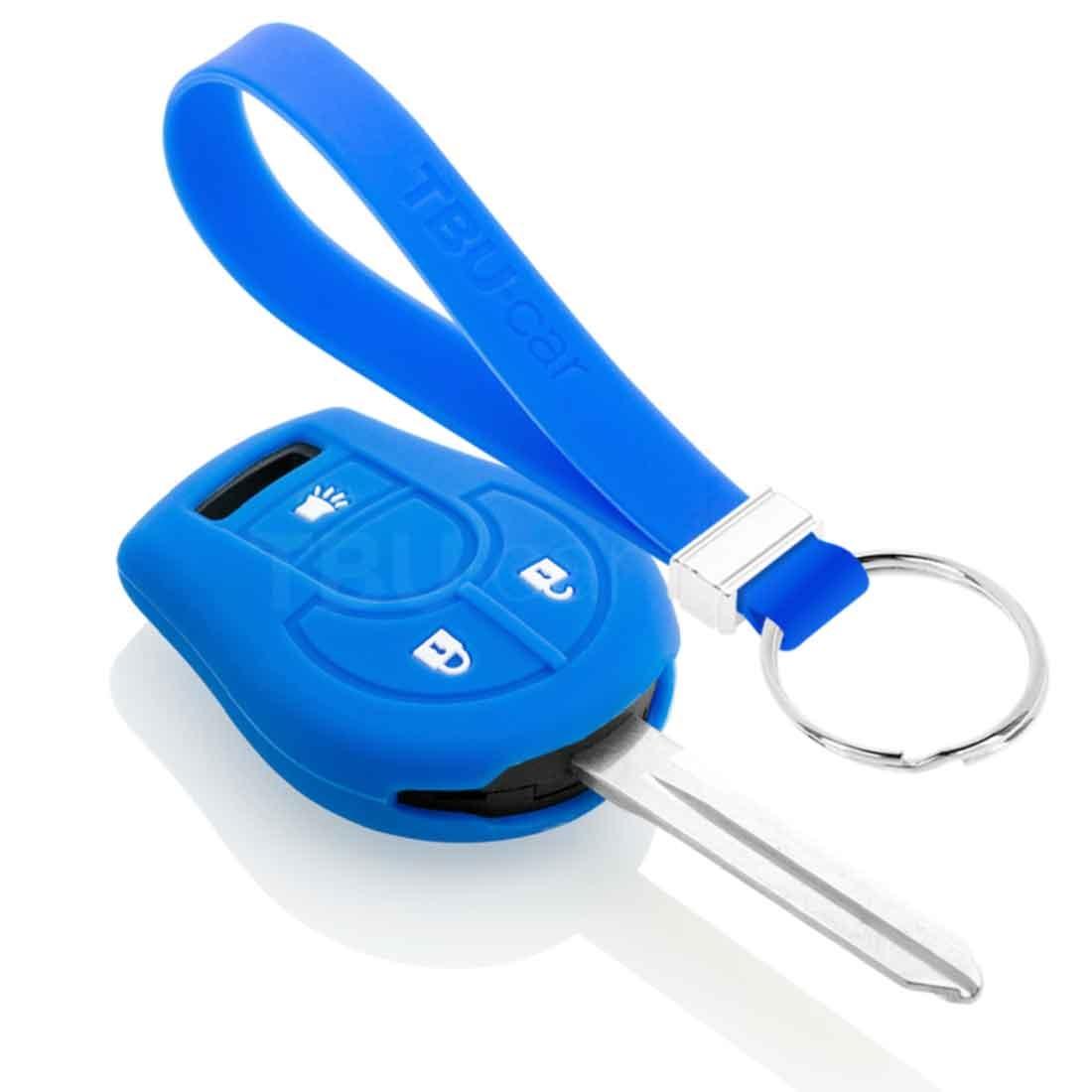 TBU car TBU car Autoschlüssel Hülle kompatibel mit Nissan 3 Tasten - Schutzhülle aus Silikon - Auto Schlüsselhülle Cover in Blau