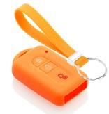 TBU car TBU car Autoschlüssel Hülle kompatibel mit Nissan 2 Tasten (Keyless Entry) - Schutzhülle aus Silikon - Auto Schlüsselhülle Cover in Orange