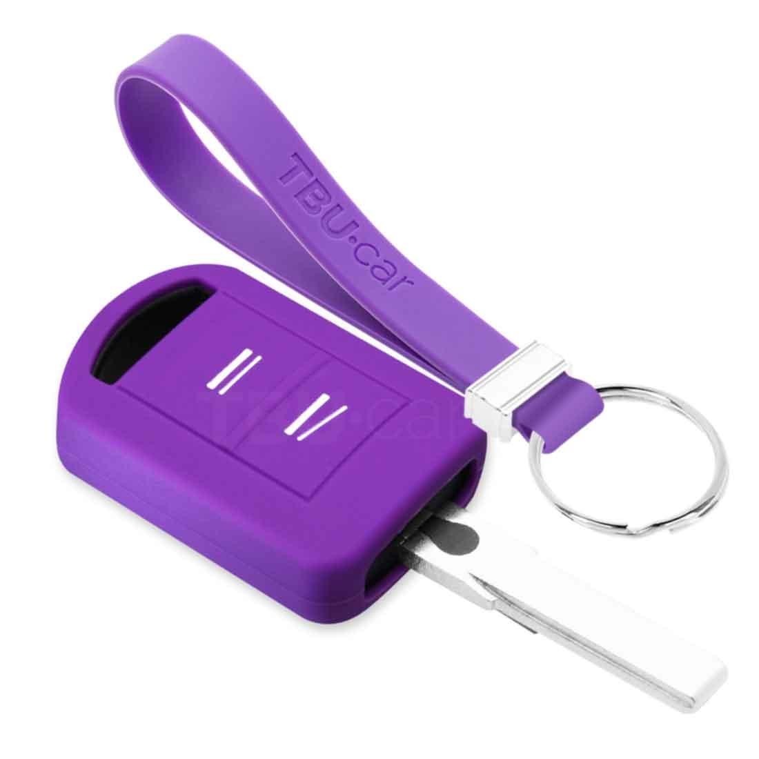 TBU car TBU car Autoschlüssel Hülle kompatibel mit Opel 2 Tasten - Schutzhülle aus Silikon - Auto Schlüsselhülle Cover in Violett