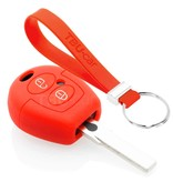 TBU car TBU car Autoschlüssel Hülle kompatibel mit VW 2 Tasten - Schutzhülle aus Silikon - Auto Schlüsselhülle Cover in Rot