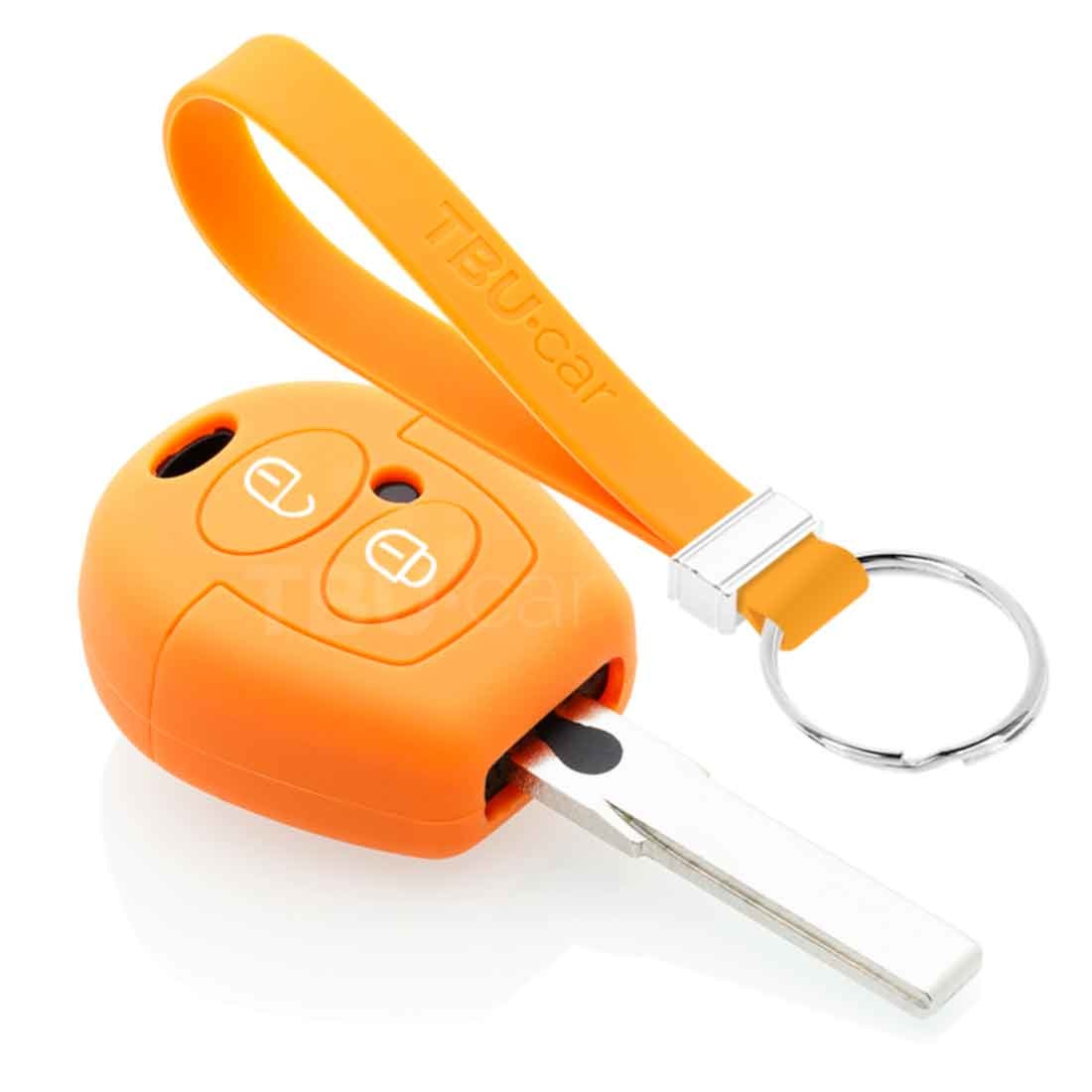TBU car TBU car Autoschlüssel Hülle kompatibel mit Seat 2 Tasten - Schutzhülle aus Silikon - Auto Schlüsselhülle Cover in Orange