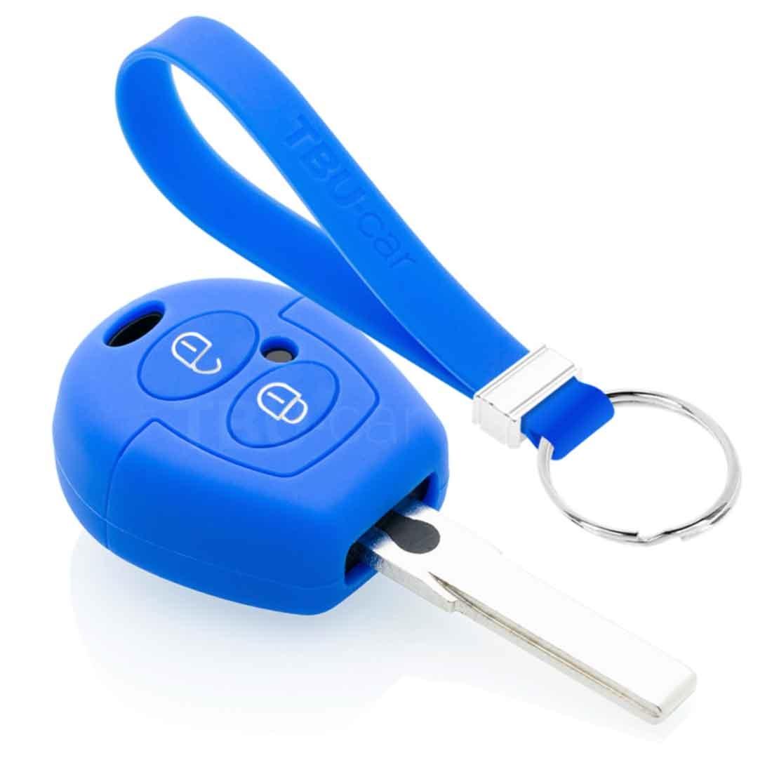 TBU car TBU car Autoschlüssel Hülle kompatibel mit Skoda 2 Tasten - Schutzhülle aus Silikon - Auto Schlüsselhülle Cover in Blau