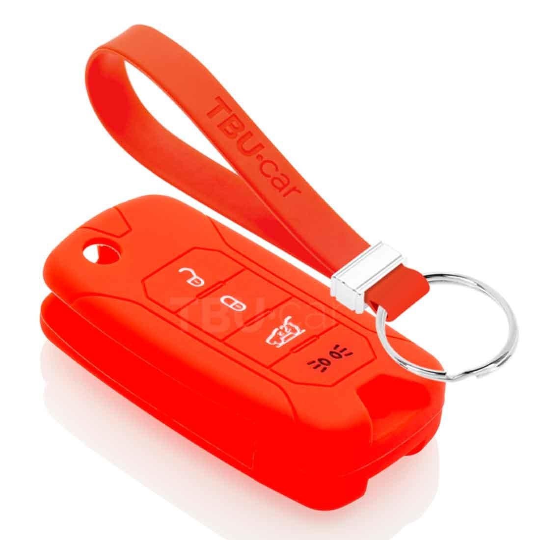 TBU car TBU car Autoschlüssel Hülle kompatibel mit Jeep 4 Tasten - Schutzhülle aus Silikon - Auto Schlüsselhülle Cover in Rot