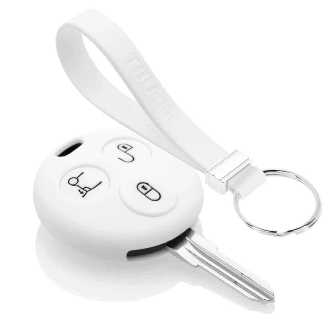 TBU car TBU car Autoschlüssel Hülle kompatibel mit Smart 3 Tasten - Schutzhülle aus Silikon - Auto Schlüsselhülle Cover in Weiß