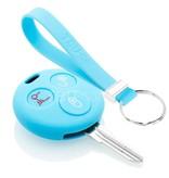 TBU car TBU car Autoschlüssel Hülle kompatibel mit Smart 3 Tasten - Schutzhülle aus Silikon - Auto Schlüsselhülle Cover in Hellblau