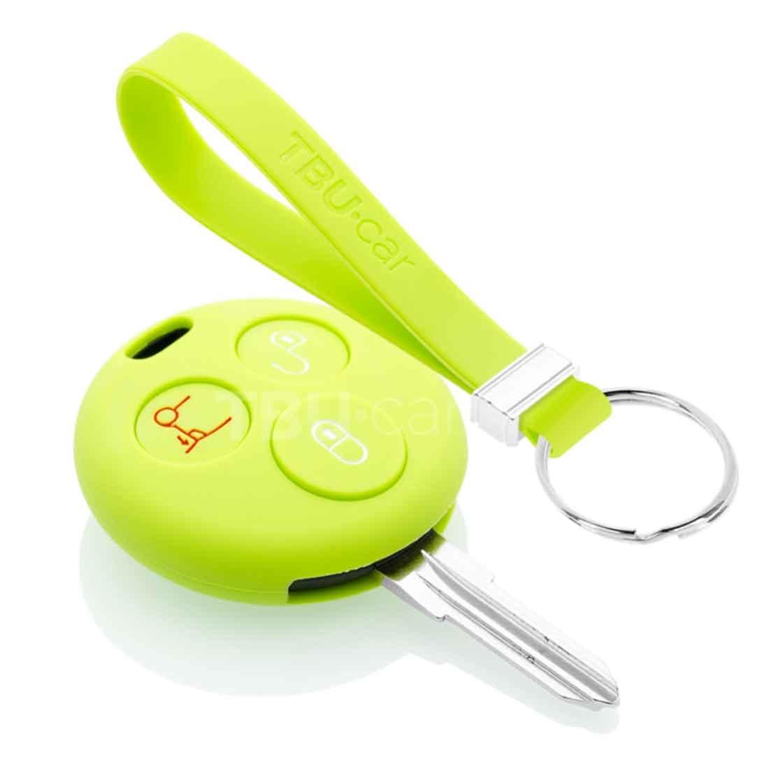 TBU car TBU car Sleutel cover compatibel met Smart - Silicone sleutelhoesje - beschermhoesje autosleutel - Lime groen