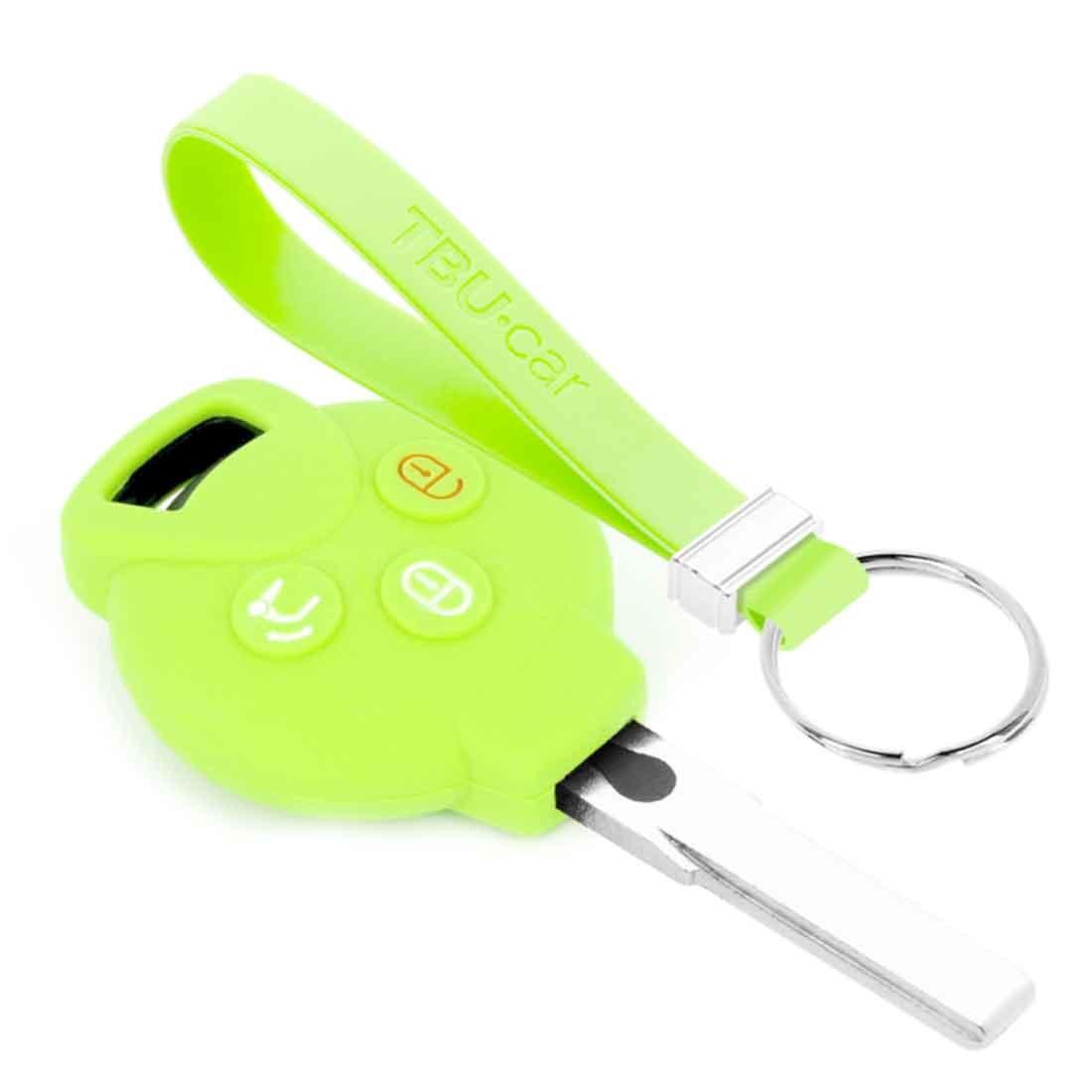 TBU car TBU car Autoschlüssel Hülle kompatibel mit Smart 3 Tasten - Schutzhülle aus Silikon - Auto Schlüsselhülle Cover in Im Dunkeln leuchten