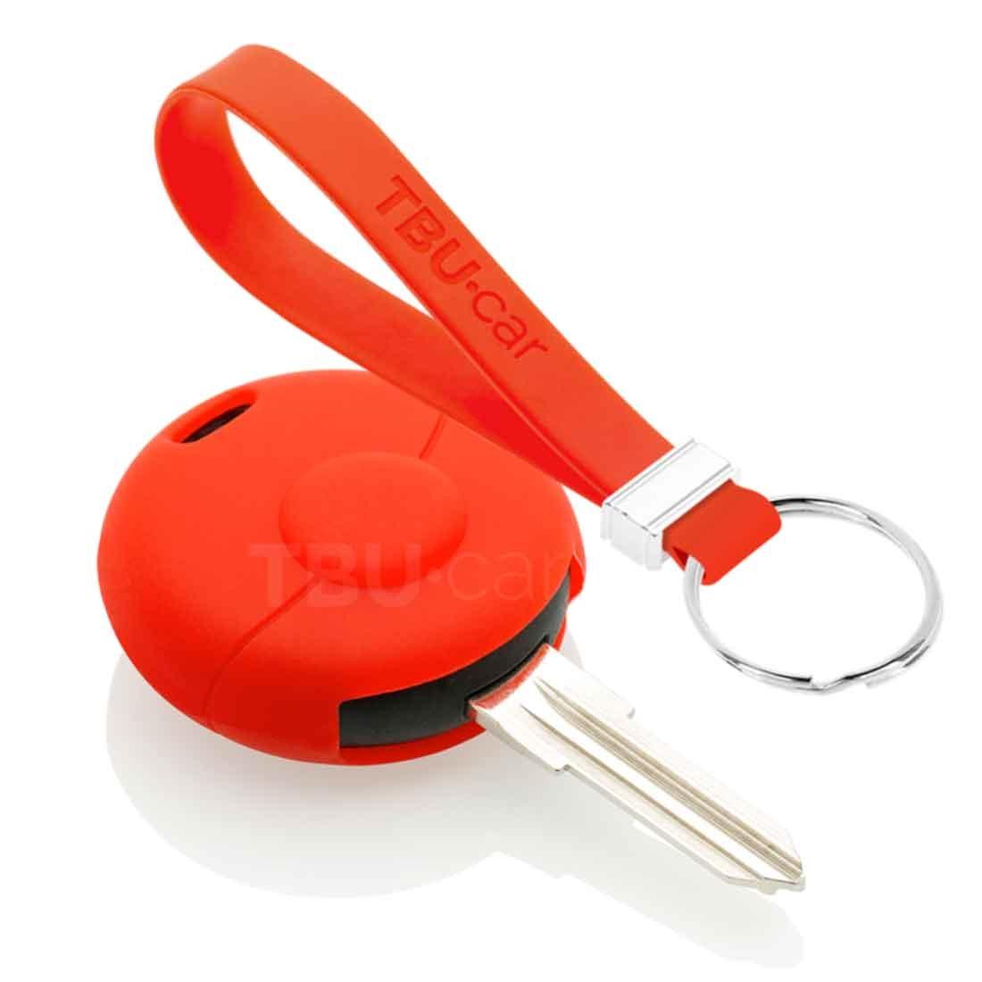 TBU car TBU car Autoschlüssel Hülle kompatibel mit Smart 1 Taste - Schutzhülle aus Silikon - Auto Schlüsselhülle Cover in Rot