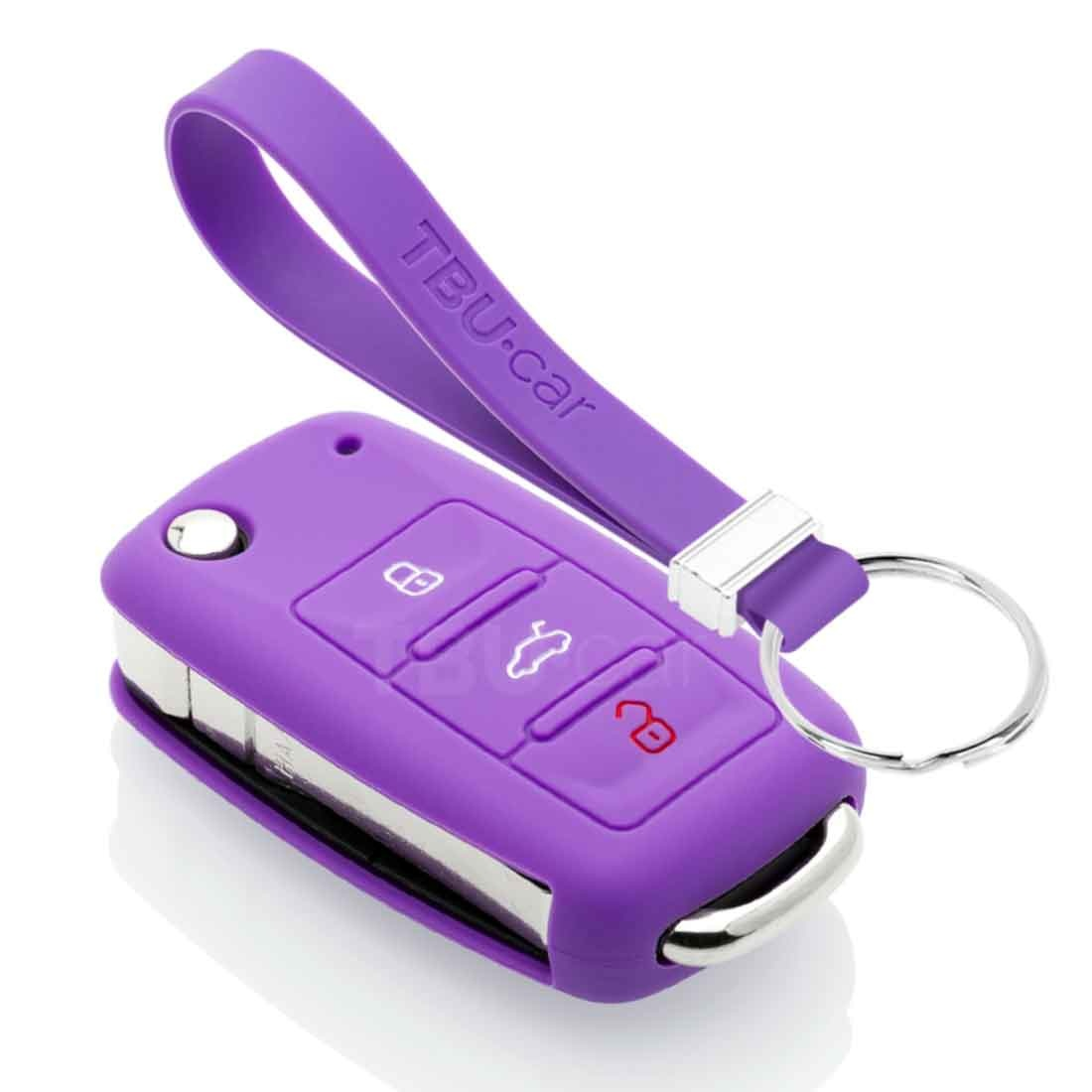 TBU car TBU car Sleutel cover compatibel met VW - Silicone sleutelhoesje - beschermhoesje autosleutel - Paars