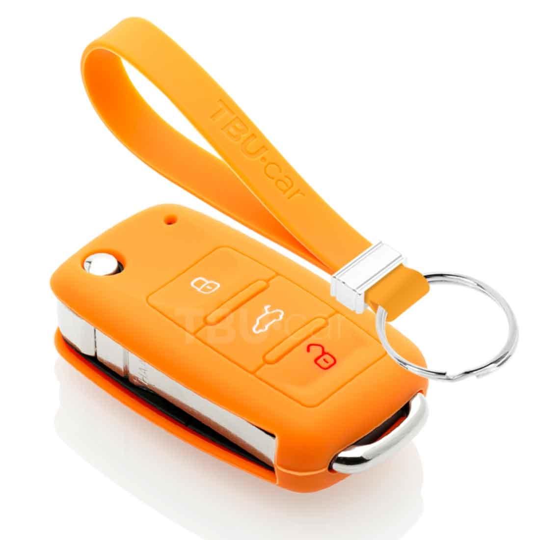 TBU car TBU car Sleutel cover compatibel met VW - Silicone sleutelhoesje - beschermhoesje autosleutel - Oranje