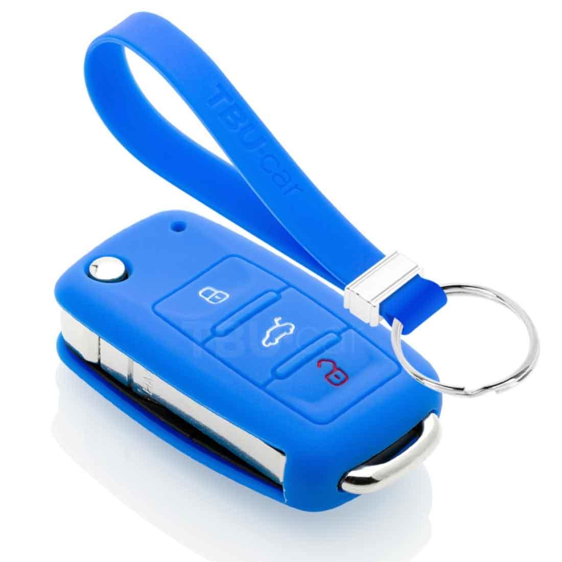 TBU car TBU car Autoschlüssel Hülle kompatibel mit Audi 3 Tasten - Schutzhülle aus Silikon - Auto Schlüsselhülle Cover in Blau