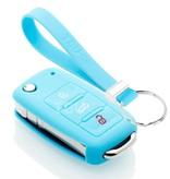TBU car TBU car Autoschlüssel Hülle kompatibel mit Skoda 3 Tasten - Schutzhülle aus Silikon - Auto Schlüsselhülle Cover in Hellblau