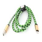 Platinet USB Lightning kabel 1M groen, Leren Kabel