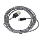 Platinet USB Lightning kabel Stof Gevlochten 2M Zwart