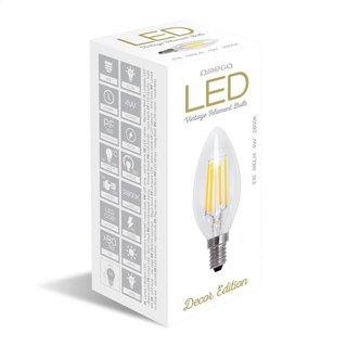 Omega Led Bulb Filament E14 2800K 4W Candle