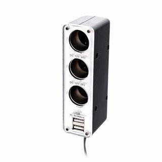 Omega Autolader / Sigarencontactkabel Met 2 USB Poorten 2.4A [44688]