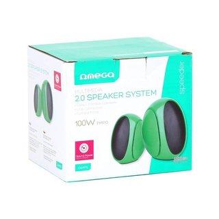 Omega Speakers 2.0 Og-117B Green 3W Rms USB [42718]