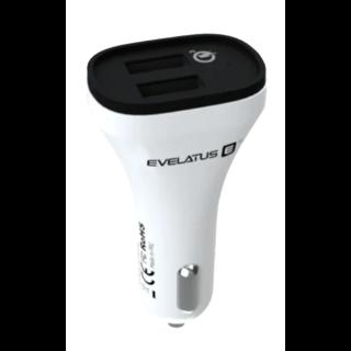 Evelatus Quick Charge Autolader QCC02 - Wit