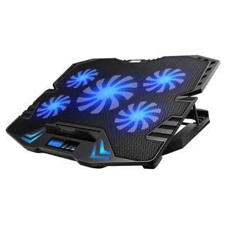 Omega Laptop Koeler Standaard - 5 Ventilatoren - Blauwe LED Verlichting - LCD Scherm met 5 Regelbare ventilator snelheid