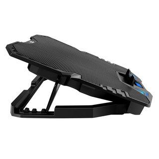 Omega Laptop Cooler Standard - 5 Lüfter - Blaue LED-Beleuchtung - LCD-Bildschirm mit 5 einstellbarer Lüftergeschwindigkeit