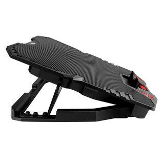 Omega Laptop Cooler Standard - 5 Lüfter - Rote LED-Beleuchtung - LCD-Bildschirm mit 5 einstellbarer Lüftergeschwindigkeit