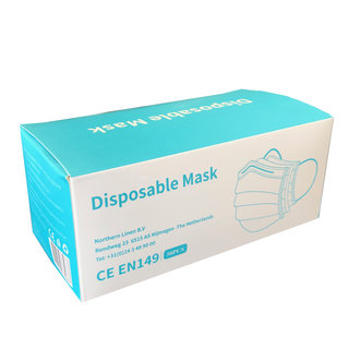Disposable Face Mask With 3 layers 3 ply - CE EN149:2001 - Earloop - 50 Pack