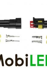 Superseal 2 pins stekker IP67 met rubber hoes