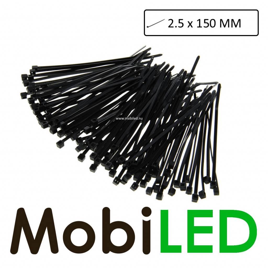 100x Kabelbinders, tie-wrap, bundelbandje  (2.5mm x 150mm)