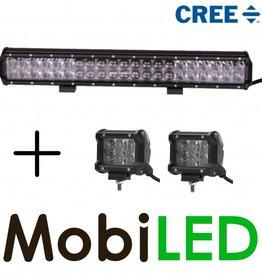 Ensemble d'action: CREE 126W barre lumineuse + 2x 18W  projecteurs loin