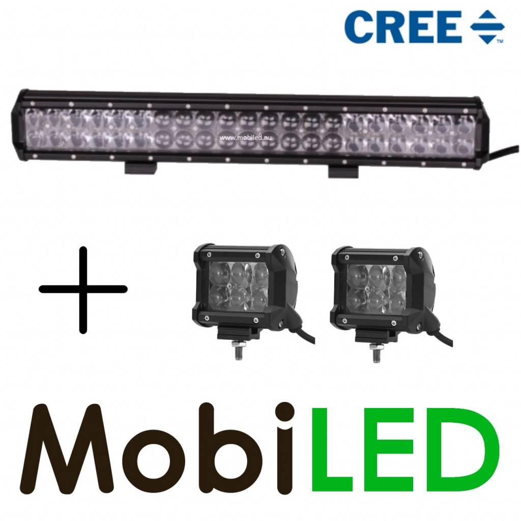 Actie set Cree 126w 4D light bar + 2x Cree 18w 4D breedstraler